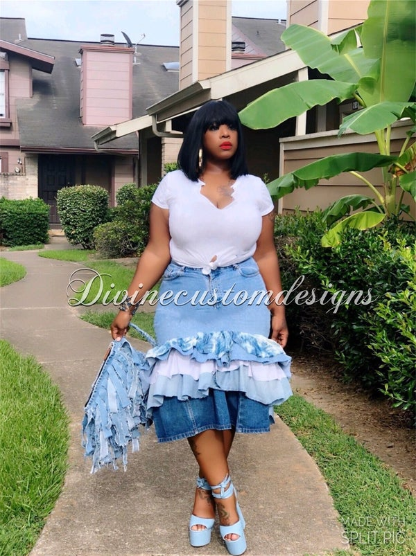 Image of Ruffle Me Denim Skirt
