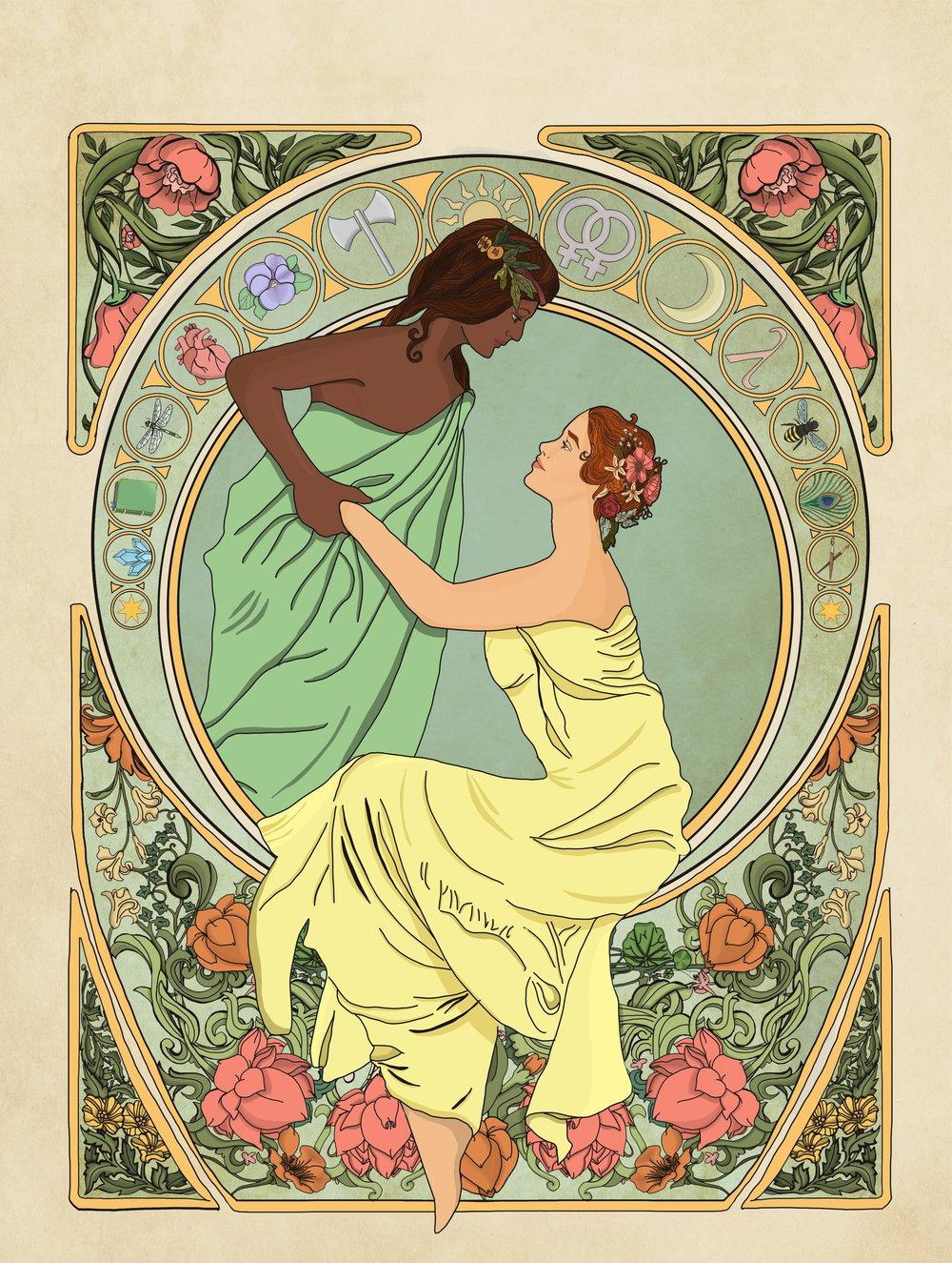 Image of Art Nouveau Lesbian Couple Art Print