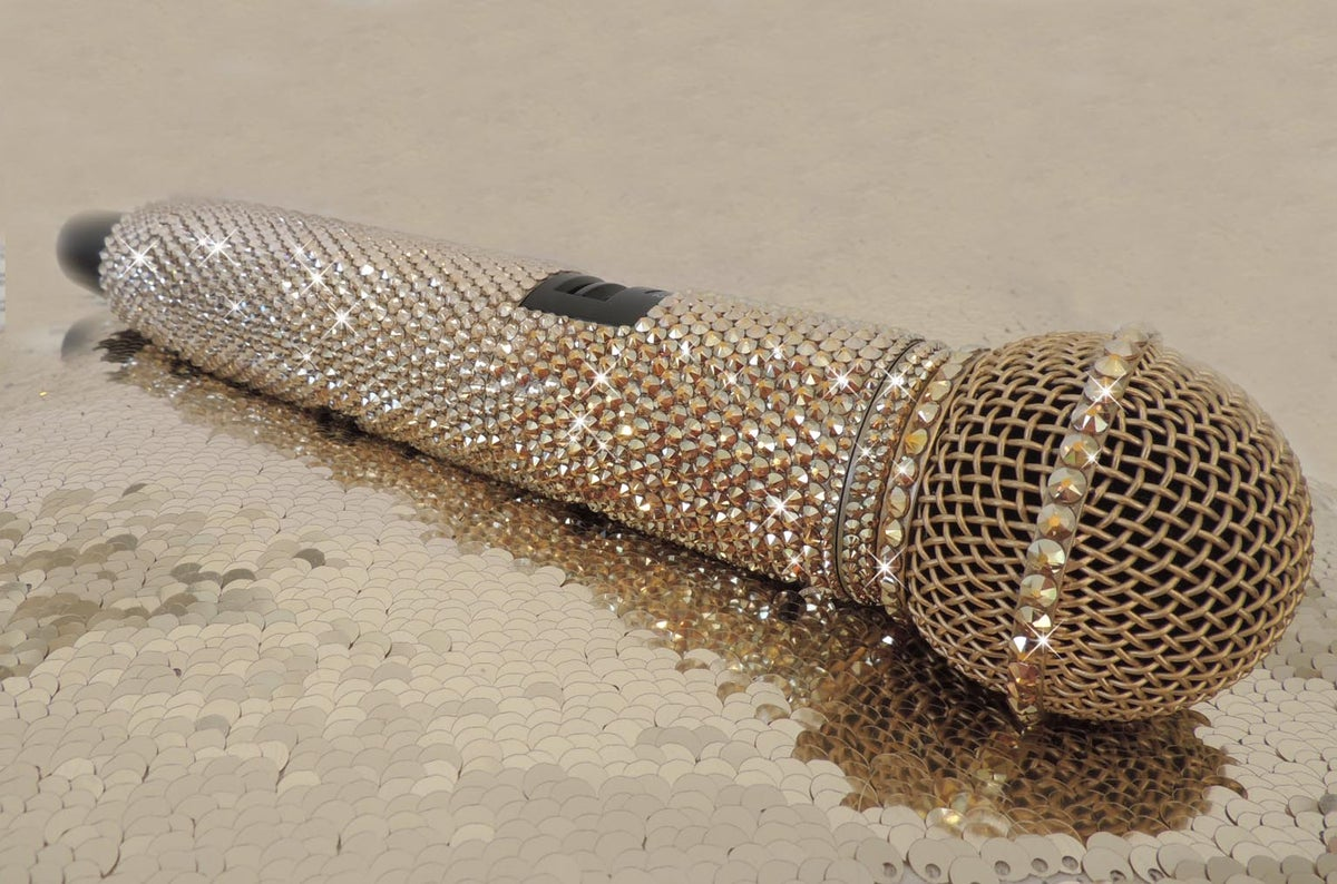 Image of Gold Ombre & Black SHURE GLXD24/SM58 DIGITAL WIRELESS SYSTEM  CRYSTALS BY SWAROVSKI®