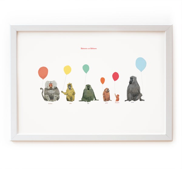 Image of Baboons with Balloons Print