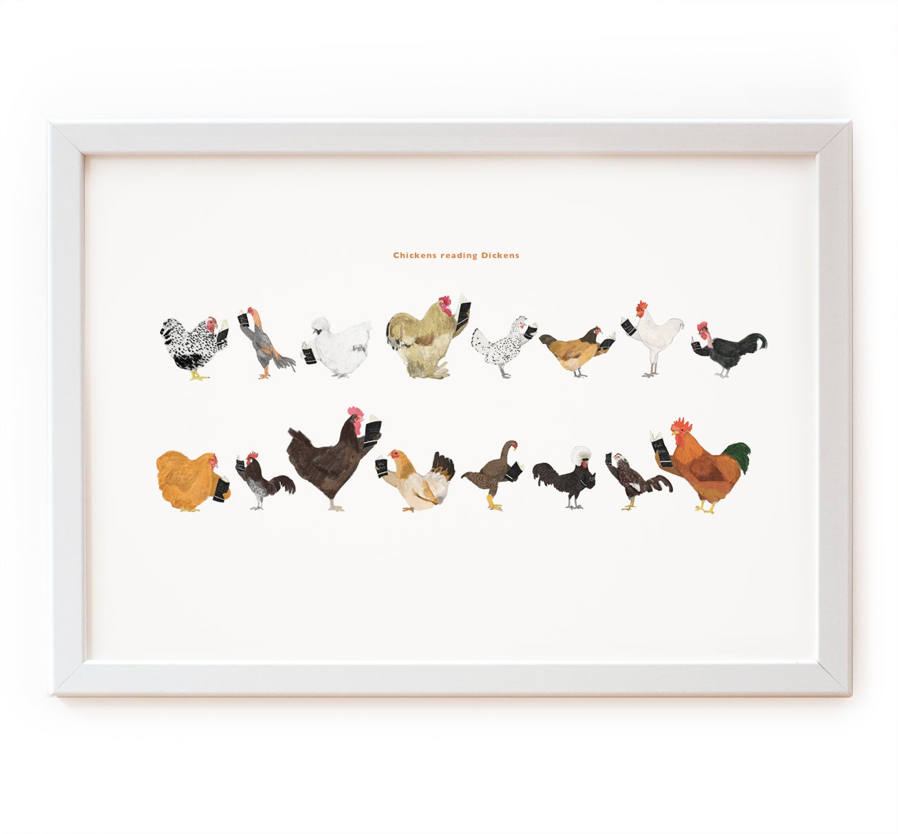 Image of Chickens reading Dickens Print