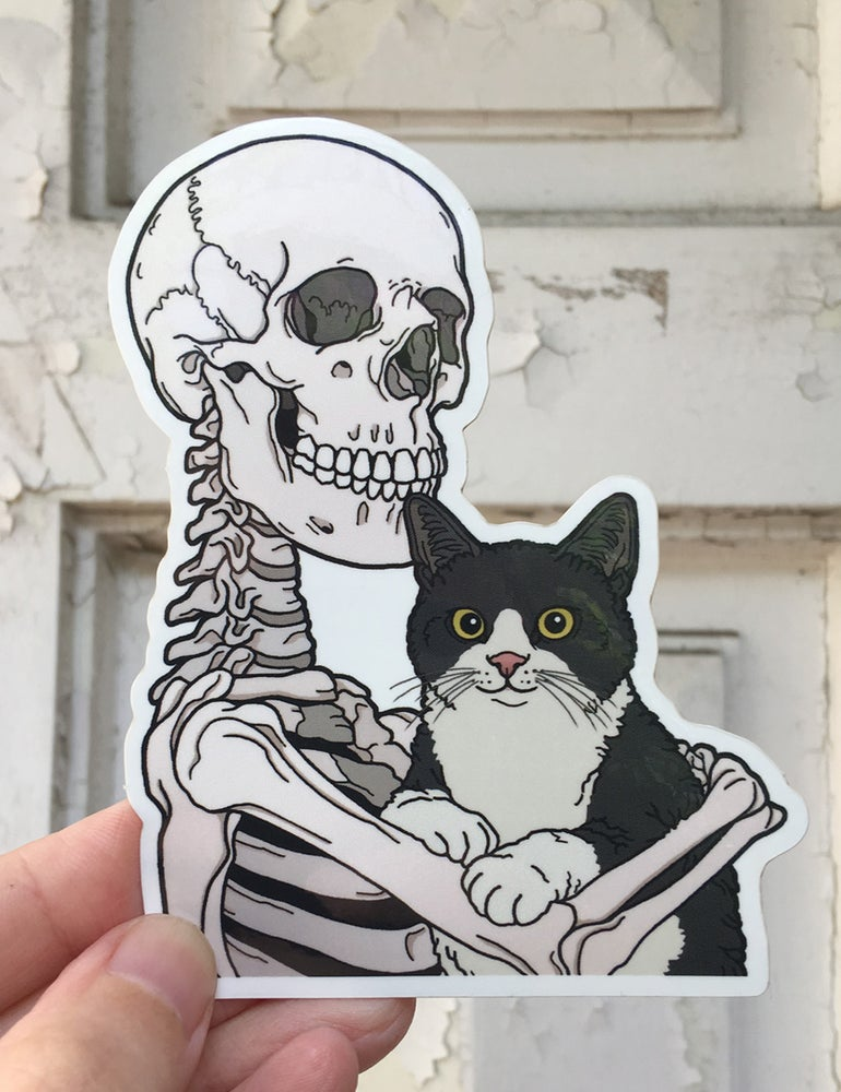 Image of Tuxedo cat friend sticker