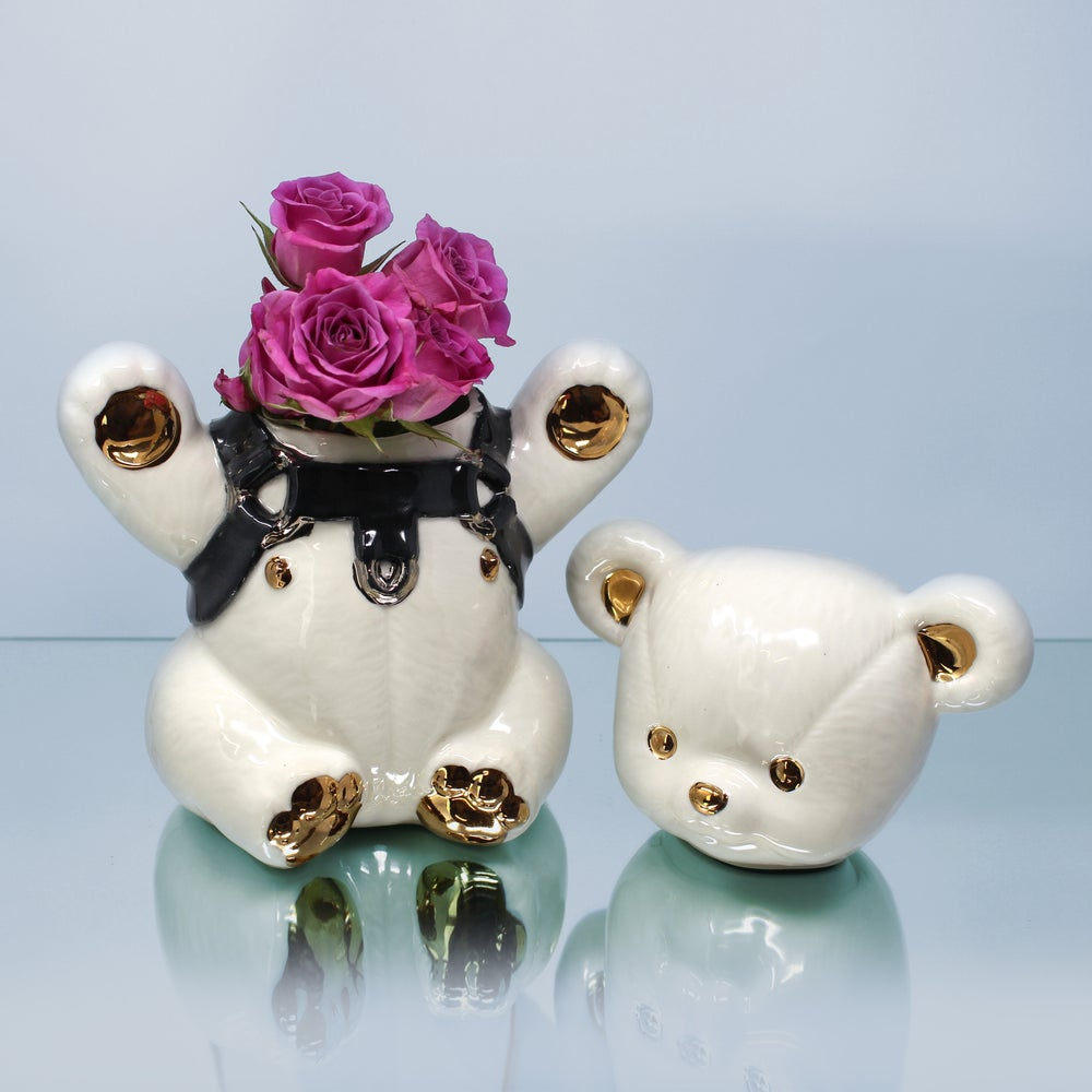 Image of Leather Bear Jar with 22kt Gold