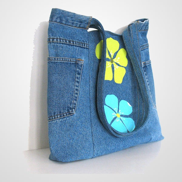 Image of Trendy Upcycled Jeans Tote Bag