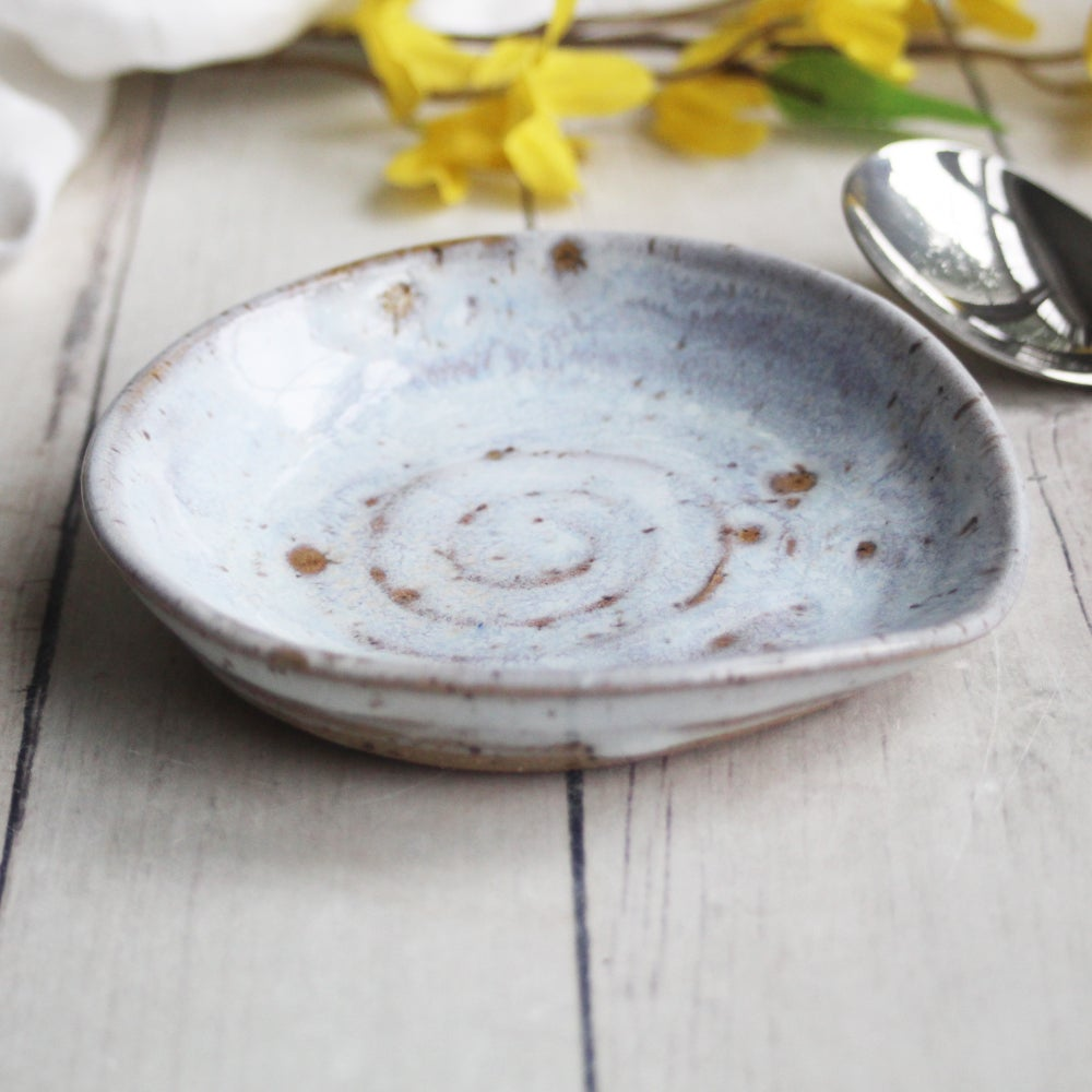Image of Rustic White Spoon Rest, Handcrafted Stoneware Spoon Holder, Made in USA