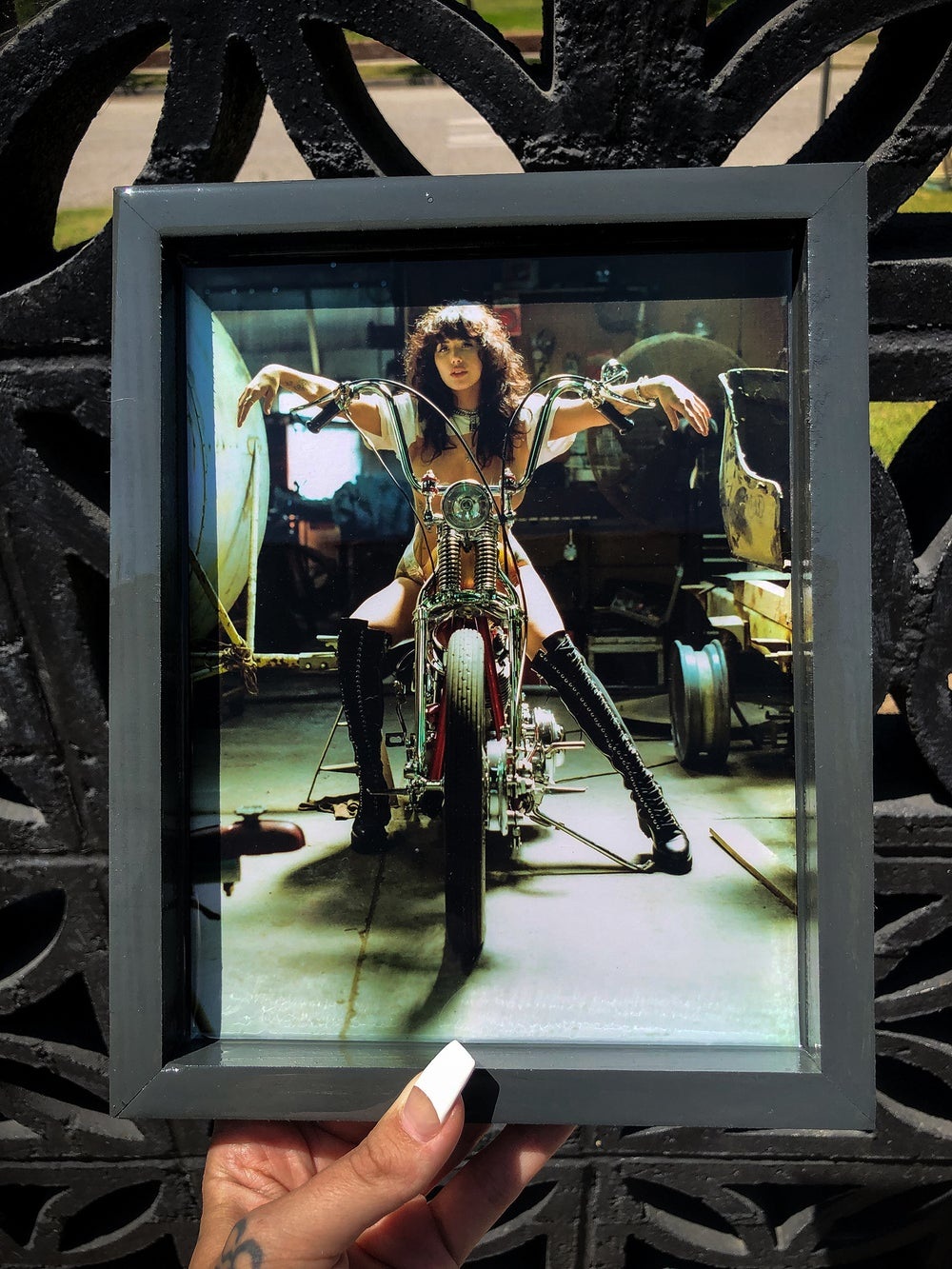 Image of Painted Lady XXV. Rolling Tray- Metallic photo paper resin overlay with grey stain (READY TO SHIP)