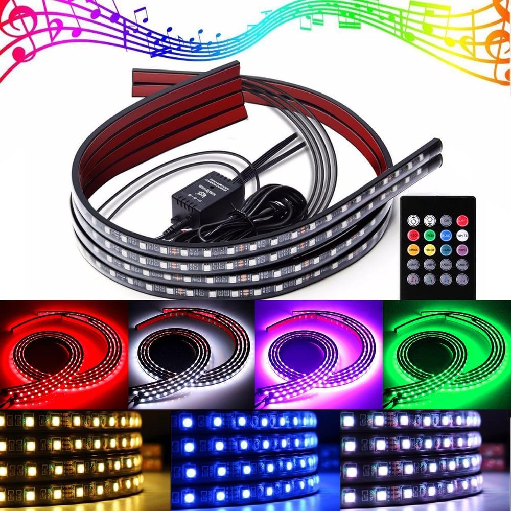 Modern Bright Durable Round Body Sensor Voice Contrl Light: LED Underbody Underglow Lighting Kit Neo Style Glow Light