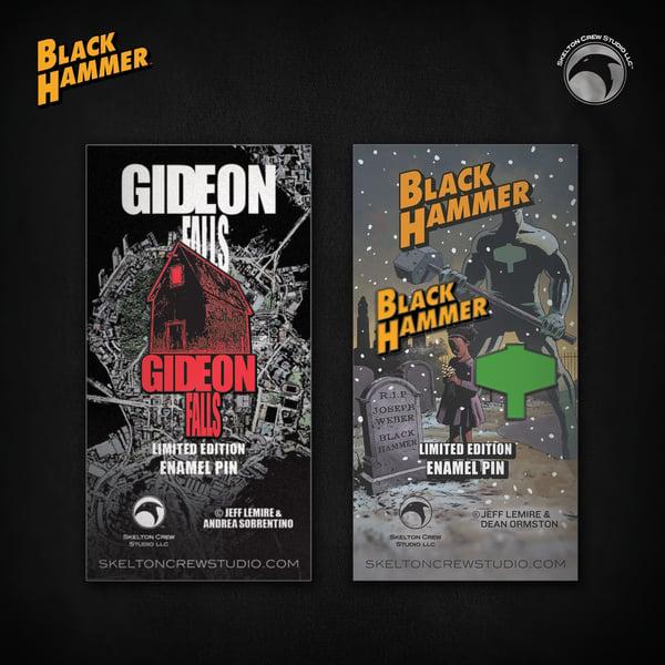 Image of Jeff Lemire two-pack! Limited Edition The Black Barn & Black Hammer logo set!