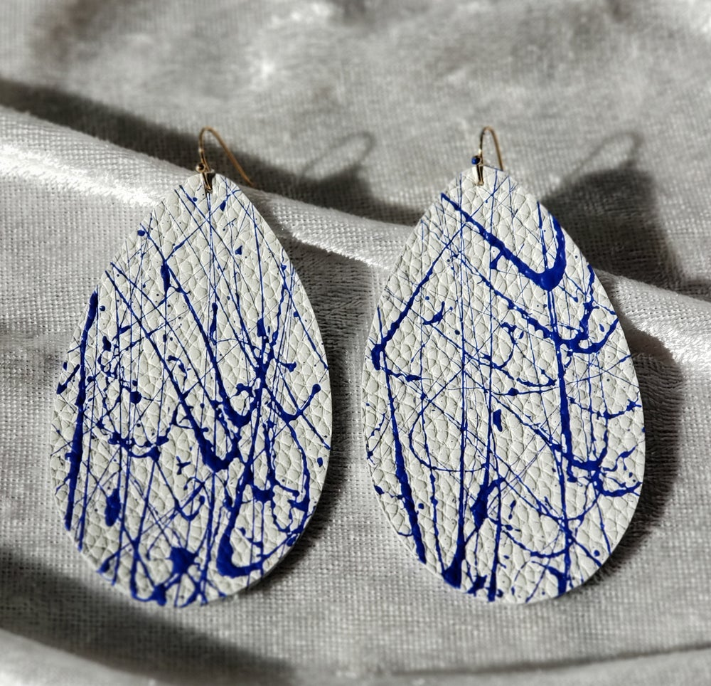 Image of White and Royal Blue Leather  Splatter Earrings