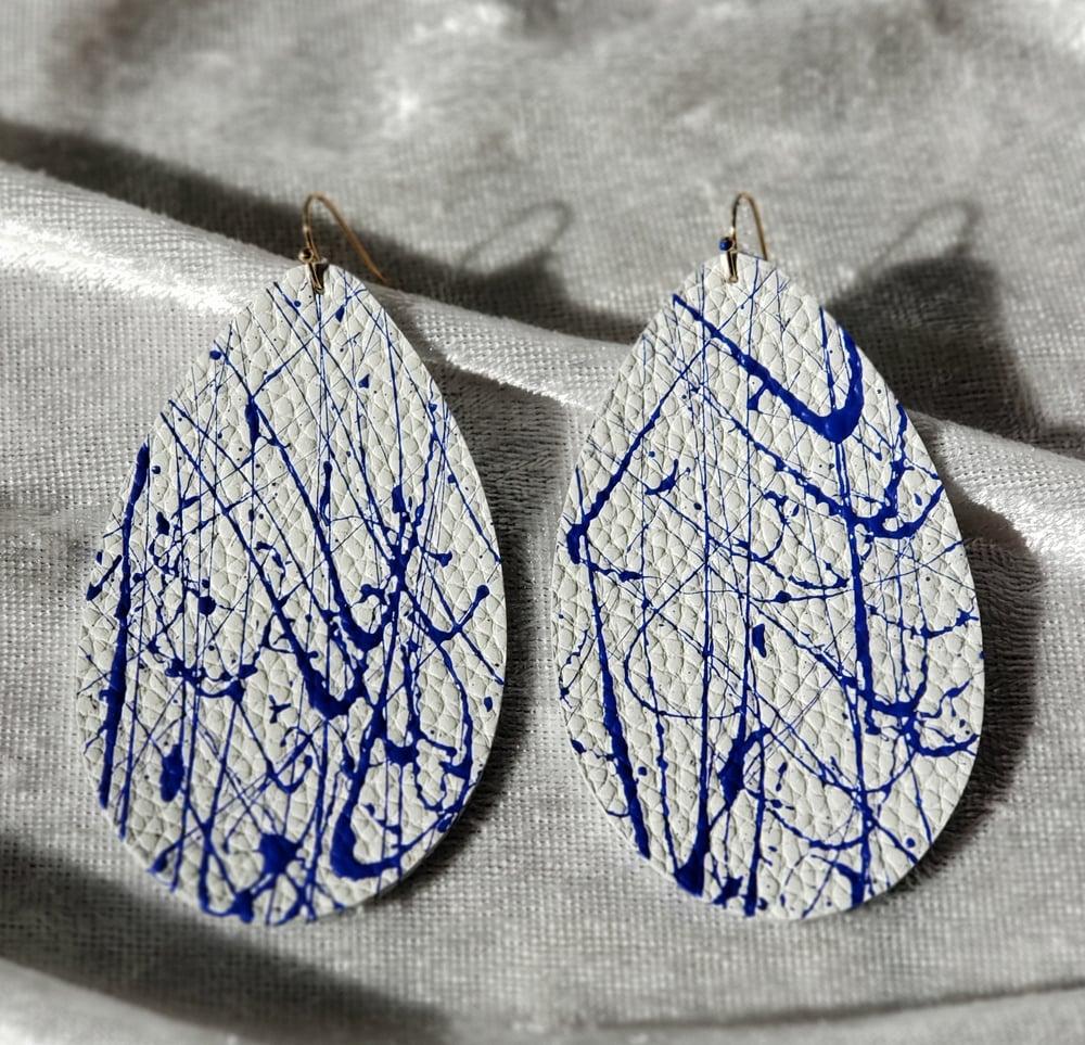 White and Royal Blue Leather  Splatter Earrings