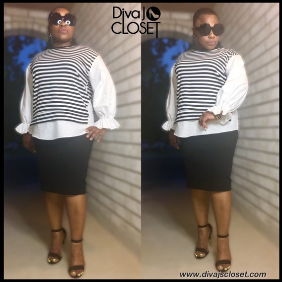 Image of Black & White Striped Top w/Contrast White Sleeves