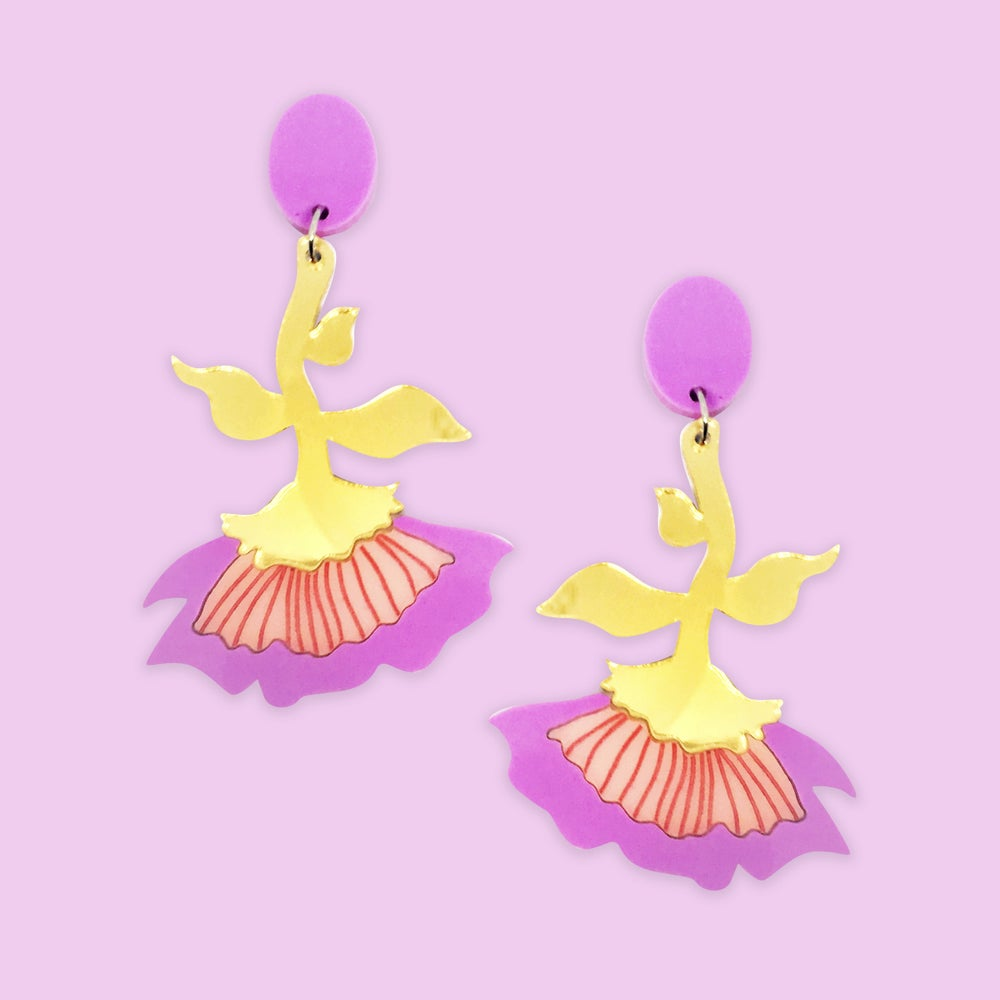 Image of Flora Dangles (Lilac/Peach-Pink/Gold)