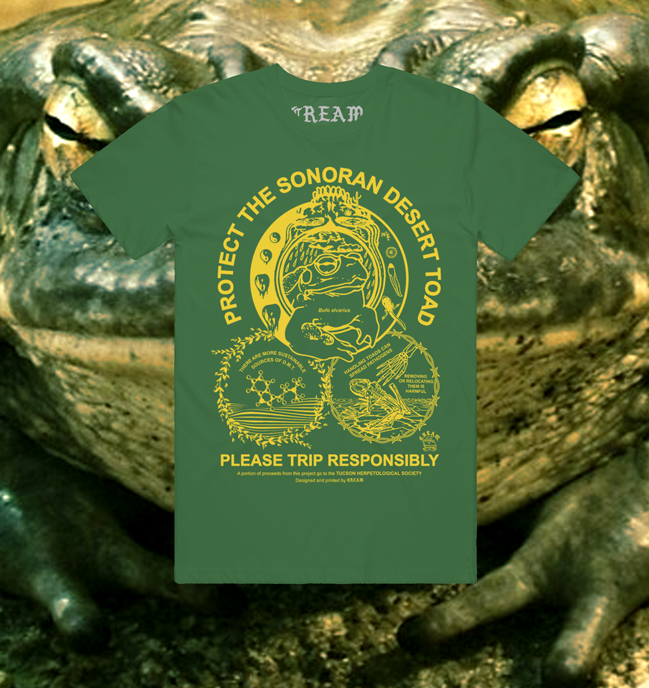 """Image of """"Protect The Toad"""" - Yellow on Hunter Green Unisex Tee"""
