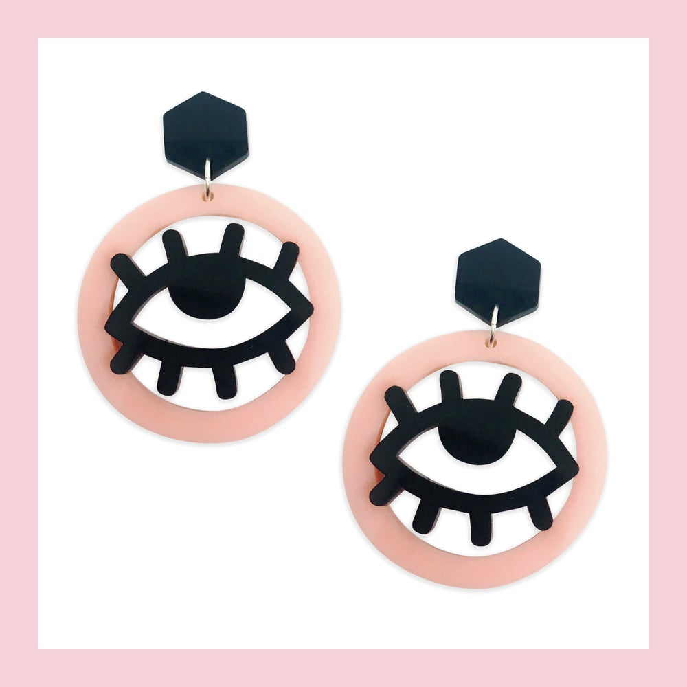 Image of Harajuku Eyes (Peach-Pink/Black)