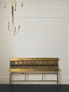Image of Headboard of Cast and Hammered Brass by Luciano Frigerio, Italy
