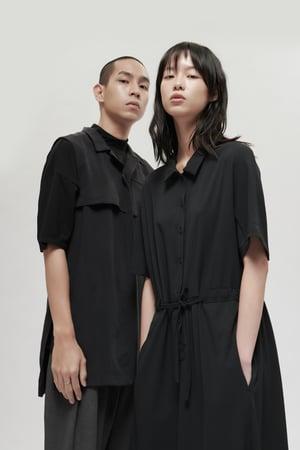 Image of TRAN - 綁領造型背心襯衫 (黑)