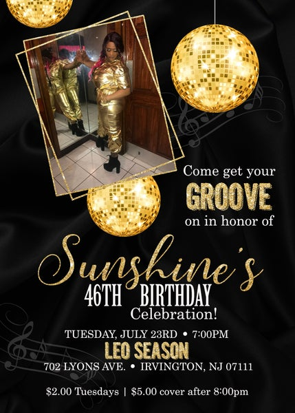 Image of Disco Ball Birthday Invitation