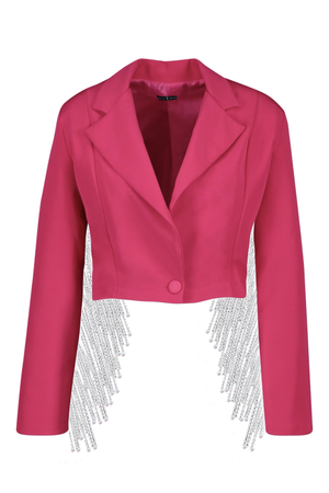 Image of 'JAX' Fulled Lined Crystal Crop Jacket
