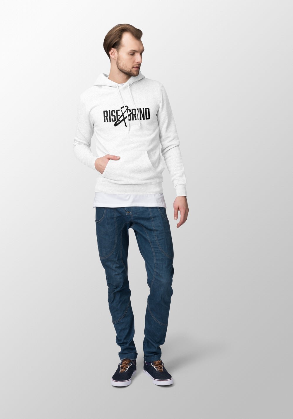 "Image of ""Rise N Grind"" Men's White Hoodie"