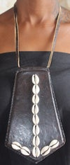 Cowrie shell shield necklaces