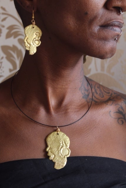 Image of Small masked choker and earring set