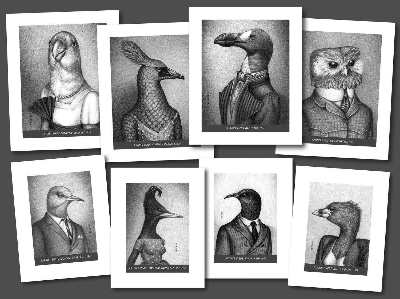 Image of Extinct Birds 8-Print Set
