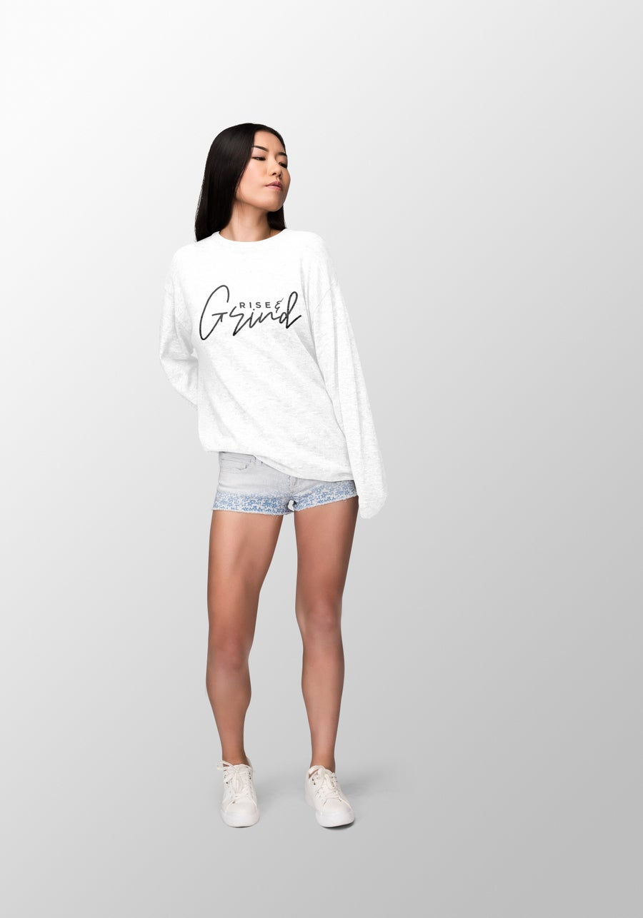 "Image of ""Rise N Grind"" Women's White Long Sleeve"