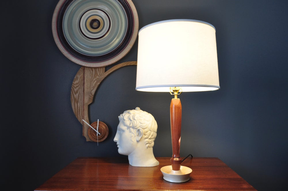 Image of Handcrafted Budinga and Maple Turned Table Lamp: The Sussex