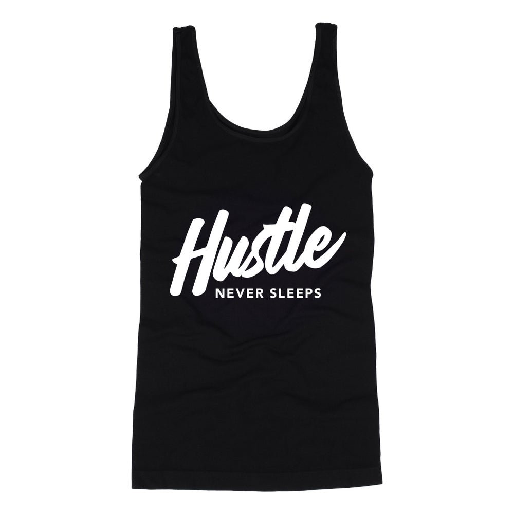 "Image of ""Hustle Never Sleeps"" Women's Black Racerback Tank"
