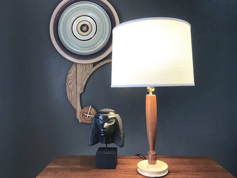 Image of Handcrafted Mahogany And Maple Turned Wood Table Lamp: The Essex