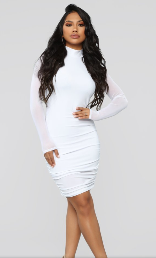 Image of White long mesh sleeve fitted dress