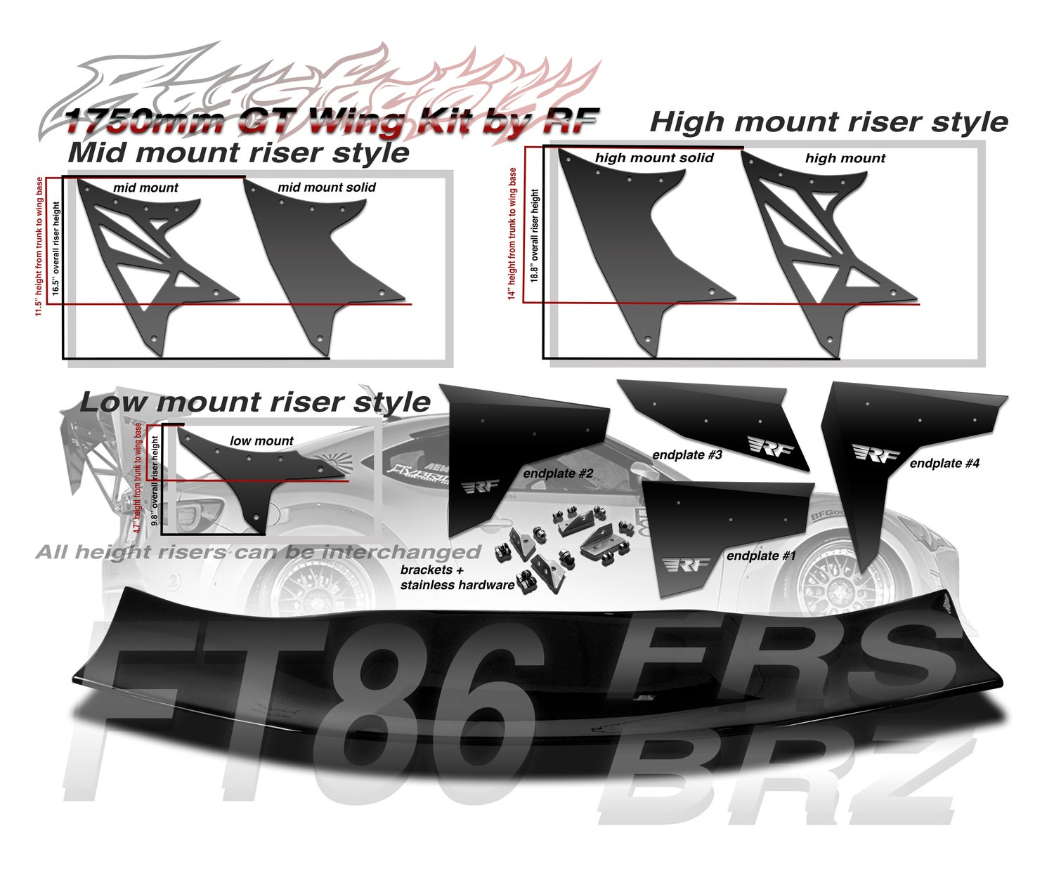 Image of Scion FRS/ Subaru BRZ FT86 1750mm FRP GT Wing kit