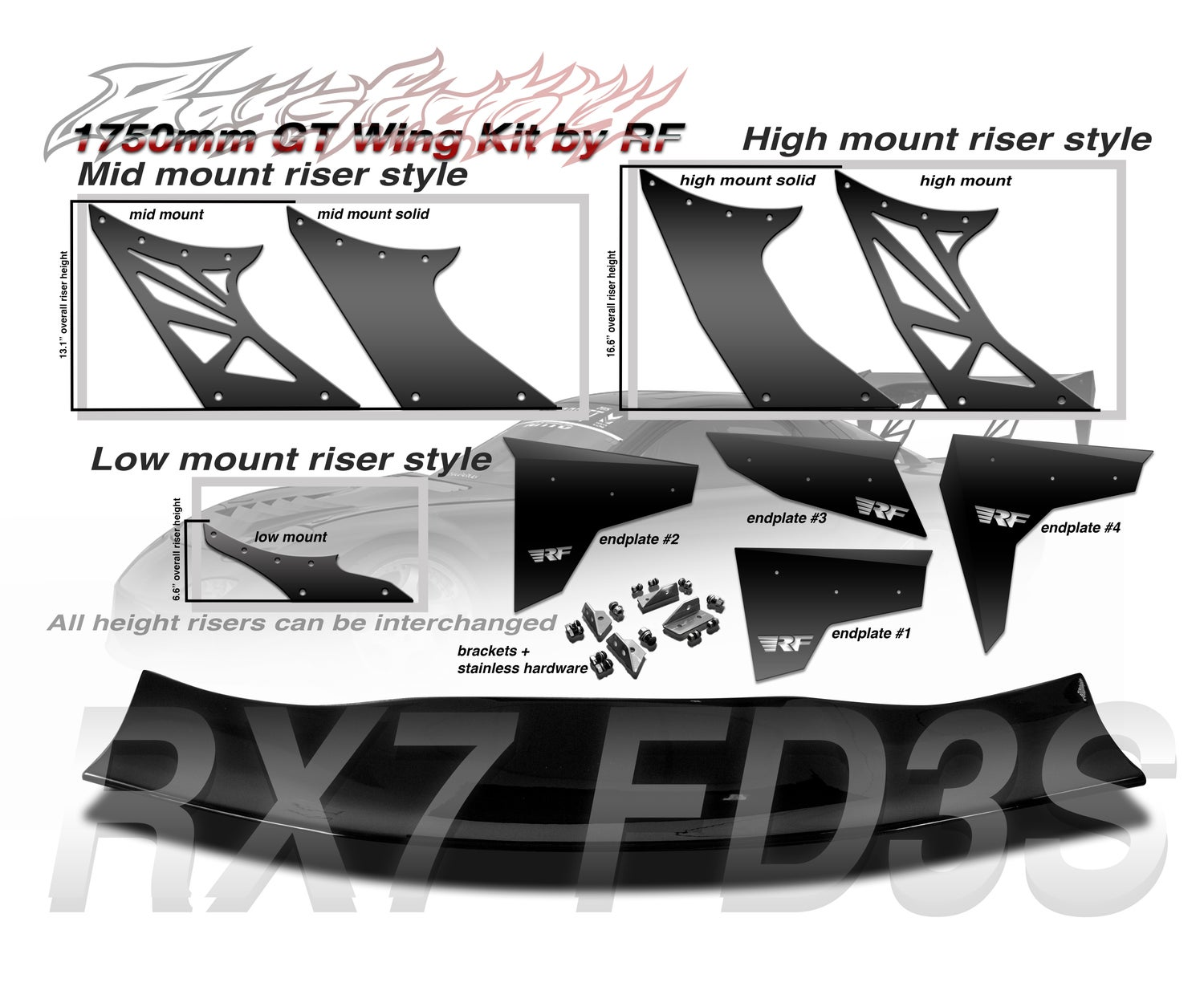 Image of Mazda RX7 FD3S 1750mm FRP GT Wing kit