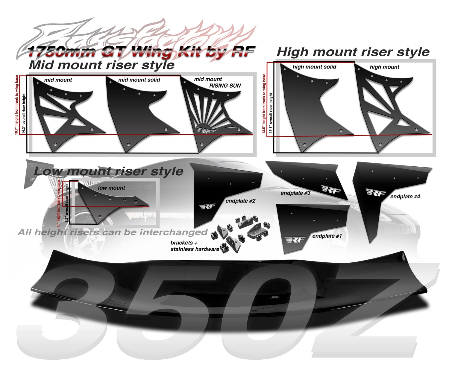 Image of Nissan Z33 350z 1750mm FRP GT Wing kit