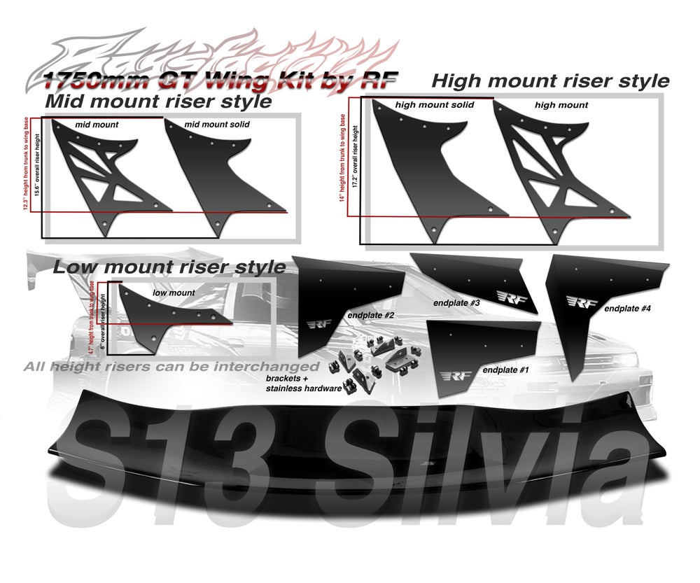 Image of Nissan S13 Silvia/ S13 coupe 1750mm FRP GT Wing kit