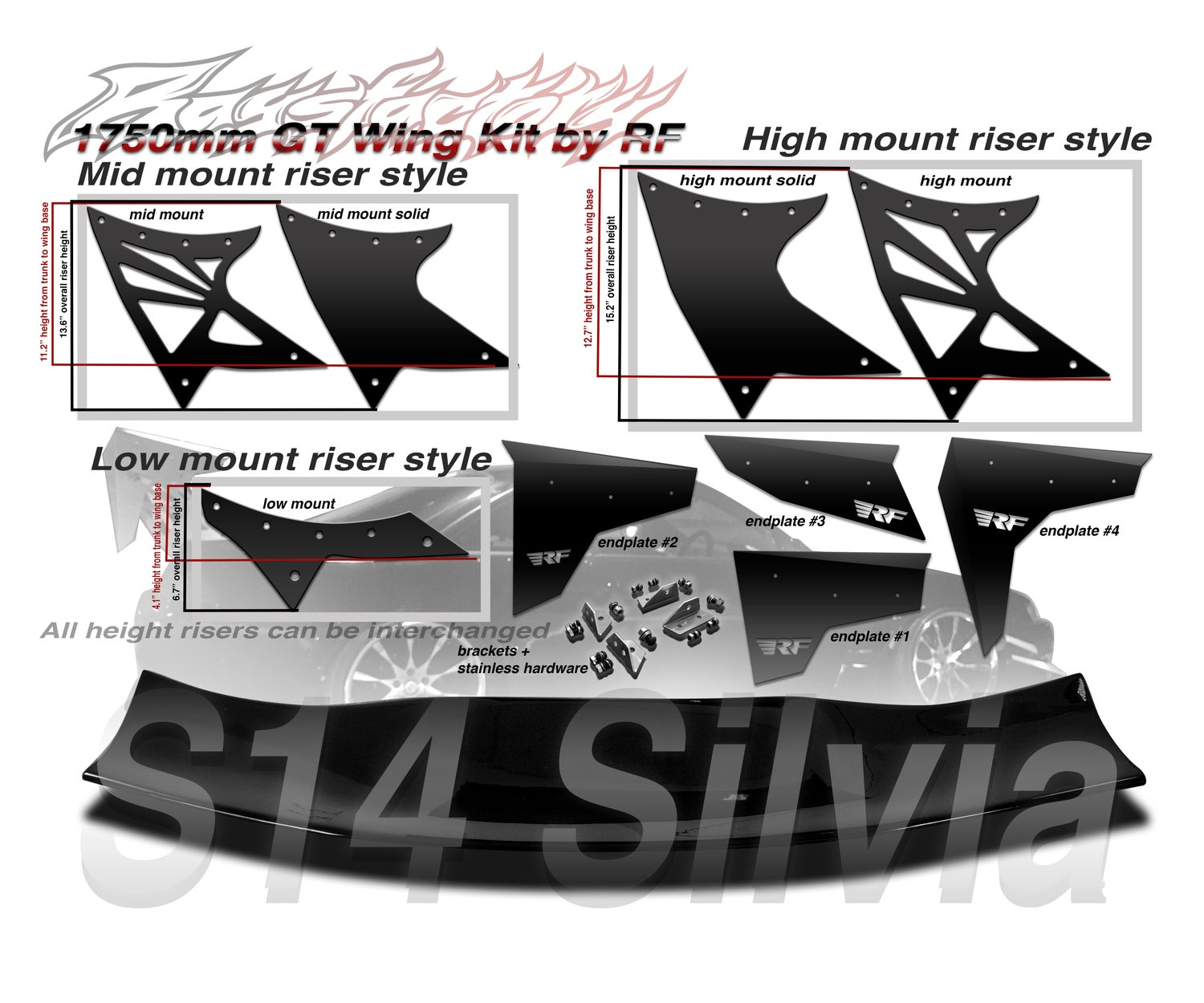 Image of Nissan S14 Silvia/240sx 1750mm FRP GT Wing kit