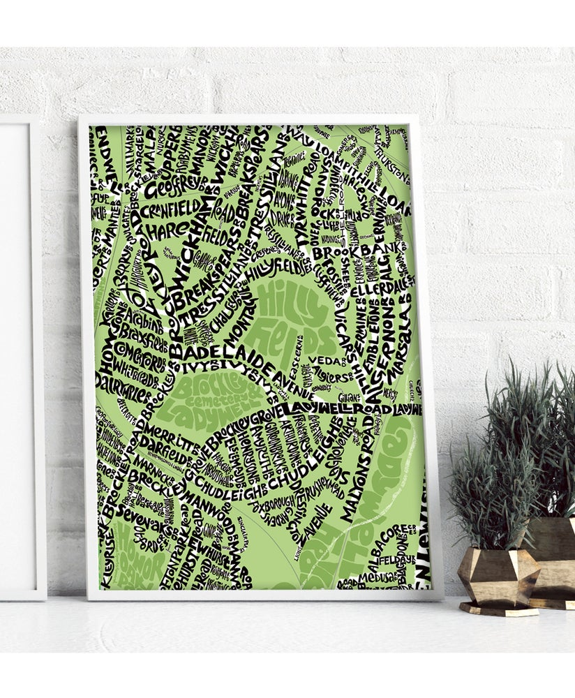Image of SE4 Hilly Fields & SE13 Ladywell - London Type Map – Black text on a colour background