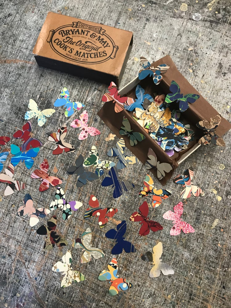 Image of 'A Kaleidoscope of Butterflies' // NEW vintage matchbox with 70 large butterflies