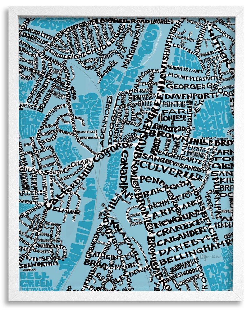 Image of SE6 Catford - London Type Map - Black text on a colour background