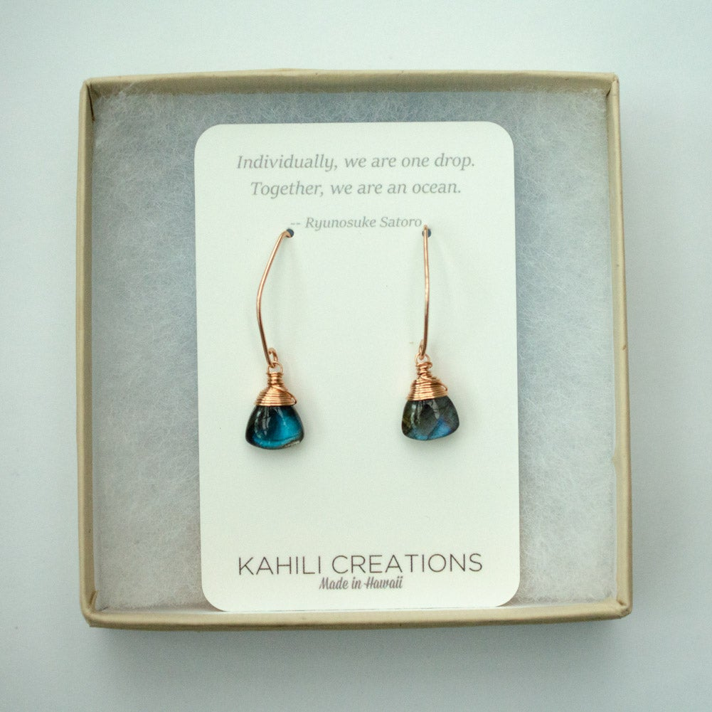 Image of Labradorite rose gold-filled angular earrings