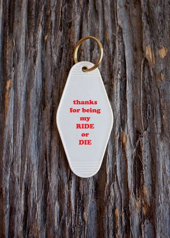 Image of ride or die keytag