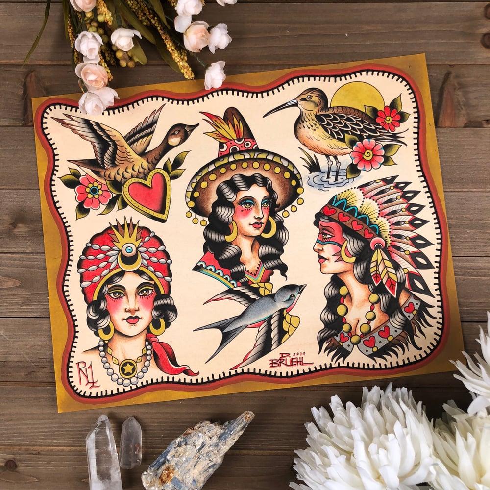Image of Women & Birds Flash Sheet
