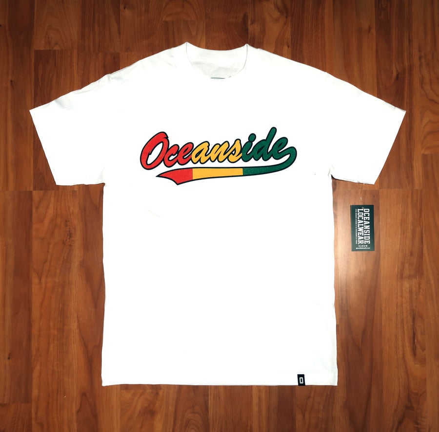 Image of Oceanside Baseball Script T-shirt: Vintage II Rasta