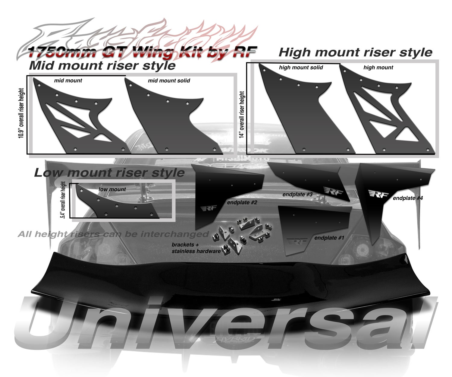 Image of Universal Style 1750mm FRP GT Wing kit