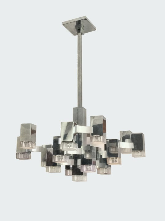 "Image of Large ""Cubic"" Chandelier by Sciolari, Italy"