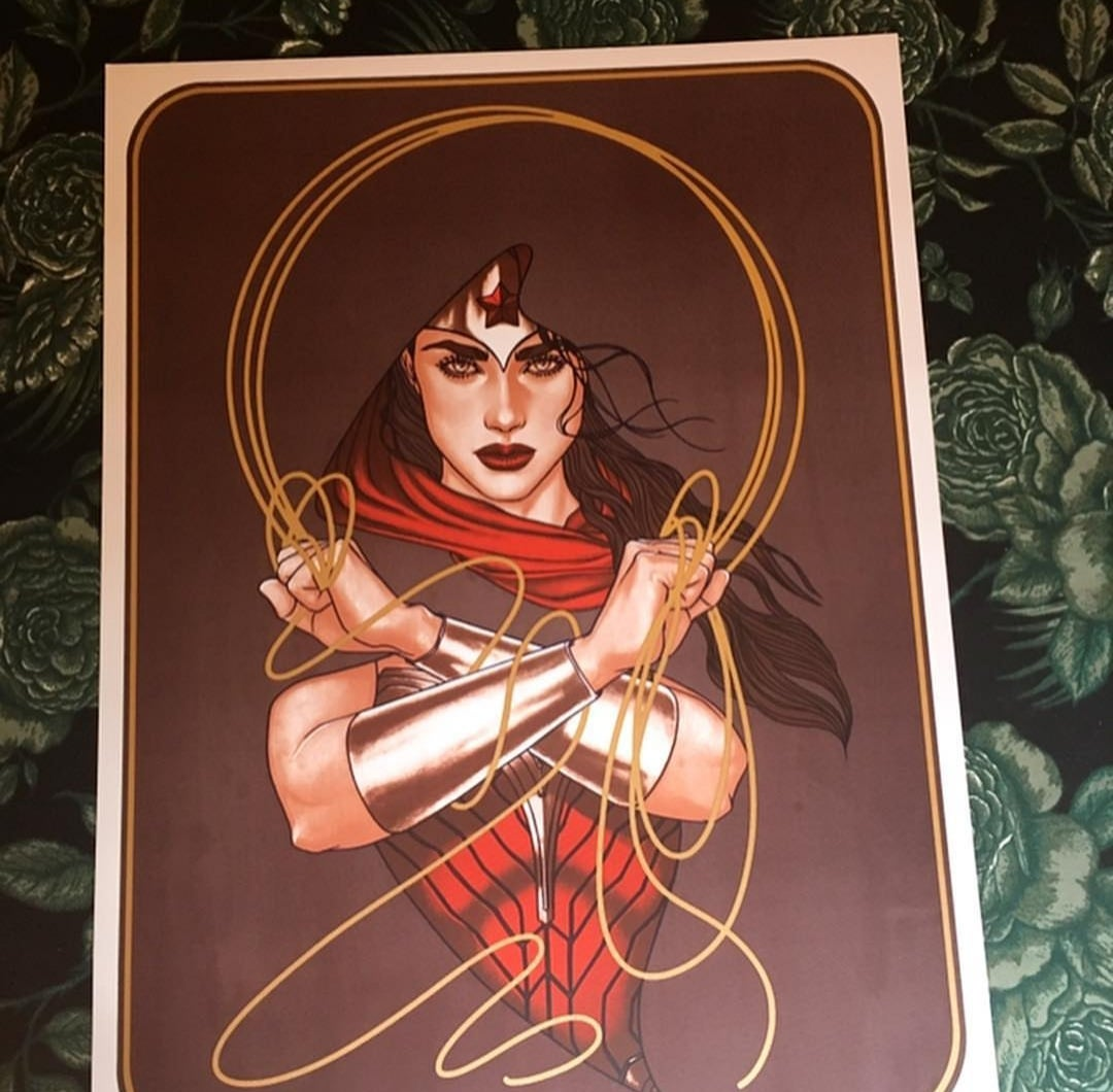 Image of Limited Edition Wonder Woman Screenprint by Jenny Frison (Metallic Gold Lasso Version)