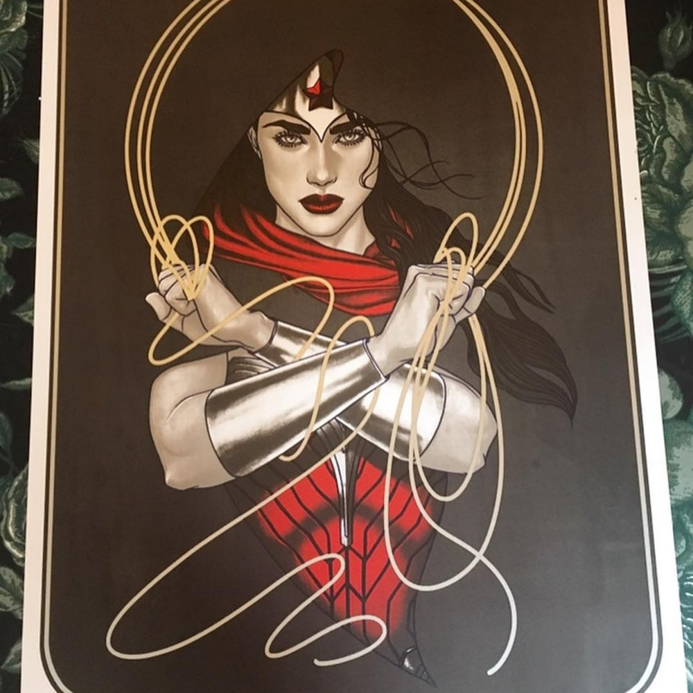 Image of Limited Edition Wonder Woman Screenprint by Jenny Frison (Metallic Silver Lasso Version)