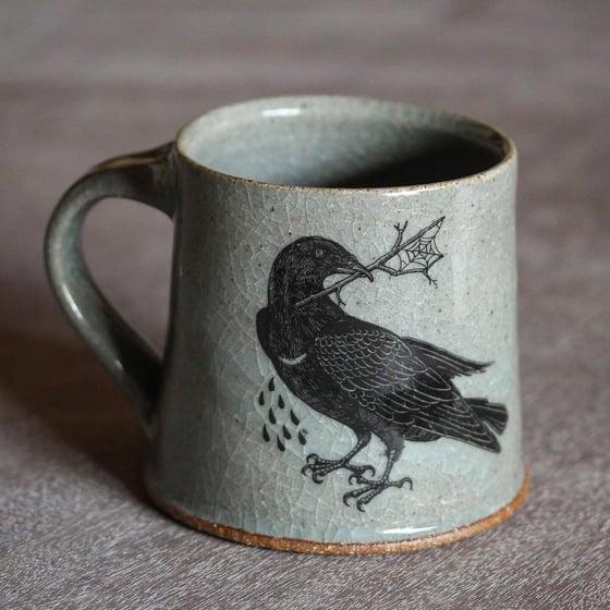 Image of Hare and Rook Mug. Blue Celadon glaze. (PRE ORDER)