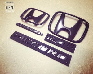Image of 2018-2019 Honda Accord SPORT, OEM Full Front & Rear BLACKOUT Emblem Set (4)