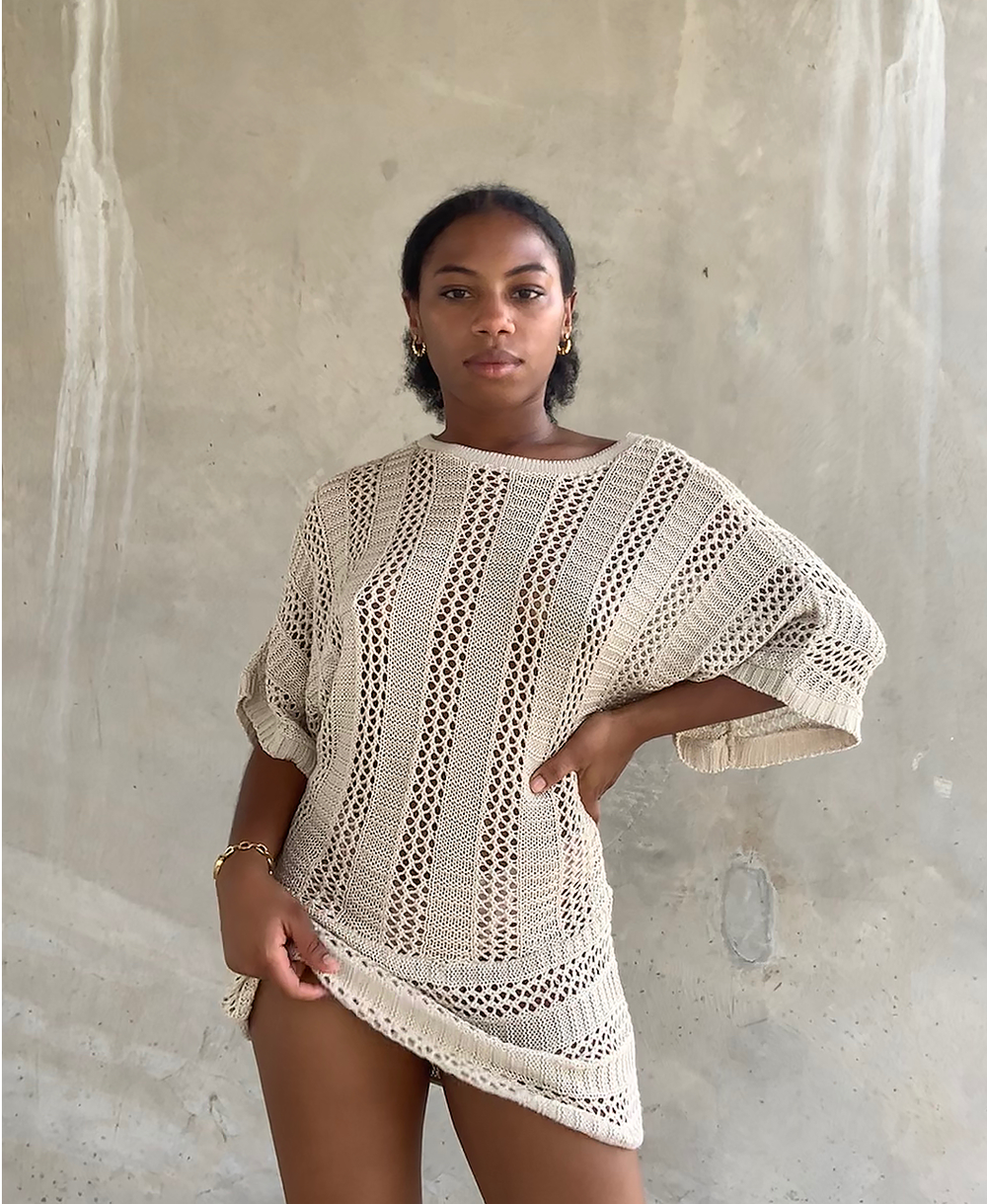 Image of CROCHET KNIT MINI DRESS